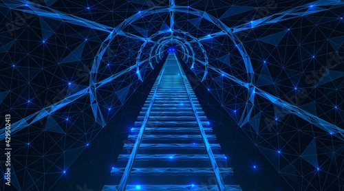 Fotografia Underground tunnel with rails