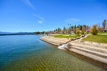 The City Beach, Steps And Lake At Independence Point In The Downtown Area Of Coeur D'Alene, Idaho USA At Spring.
