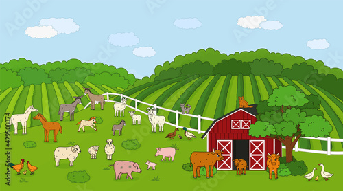 Canvas Print Set of cute outline vector cartoon pet animals at the countryside farm