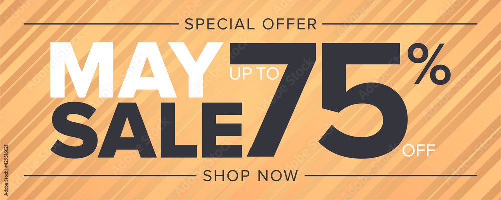 Fototapeta May sale special offer banner 75 percent