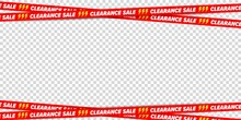 Clearance Sale Ribbon Border Frame For Discount Advertising. Crossed Restriction Tape On Transparent Background. Decoration Element For Banner, Poster, Brochure And Flyer Vector Illustration