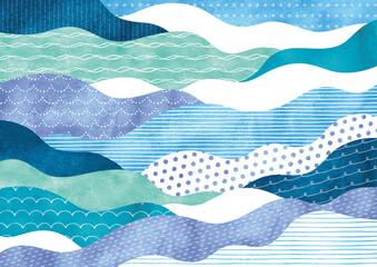 ポップな模様の波柄水彩