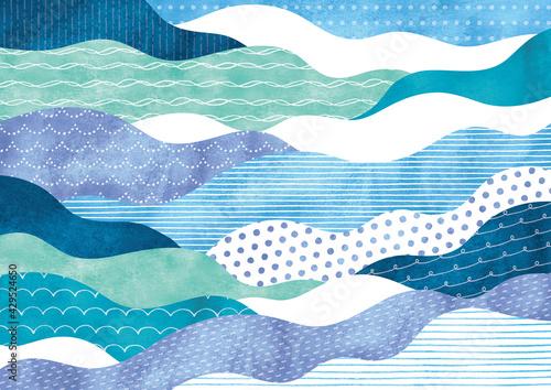ポップな模様の波柄水彩  - fototapety na wymiar