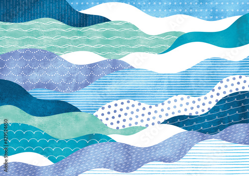 Fotografia ポップな模様の波柄水彩