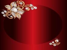 Red Background Gold Diamonds Art Banner