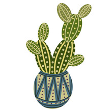 Vector Icon Of A Cactus In A Pot. Isolated Image Of An Indoor Flower On A White Background. Green Cactus With Thorns In A Ceramic Pot. Opuntia, Simple Flat Illustration