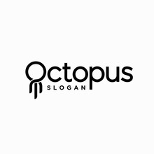 Octopus Lettering Logo, Letter O With Octopus Concept