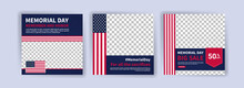 Memorial Day Greeting Card Displayed With The National Flag Of The United States Of America. Social Media Templates For Memorial Day.