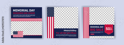 Fotografia Memorial day greeting card displayed with the national flag of the United States of America