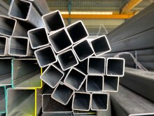 Stack Of Square Steel Pipes For Construction Supplies