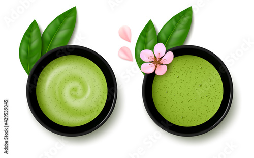 Two cups of matcha green tea and latte with leaves and cherry blossom flower isolated on white background. Top view. Realistic vector illustration. - fototapety na wymiar