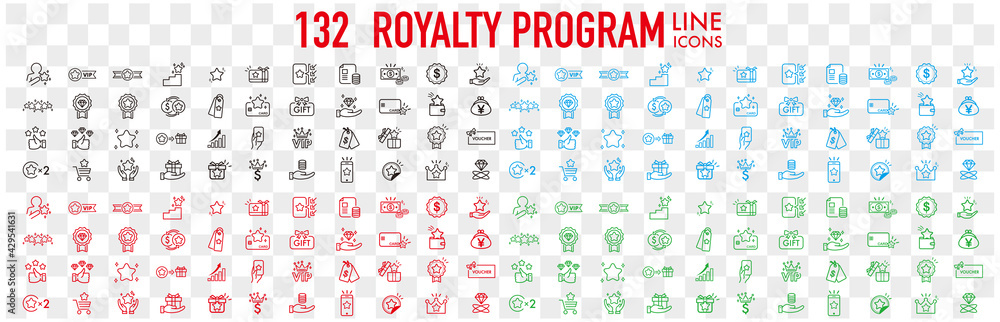 Fototapeta Royalty program line icon set. Included icons as member, VIP, exclusive, diamond, badge, high level and more.