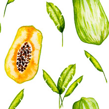 Seamless Pattern Of Papaya Illustration With Leaves Banana. Watercolor Papaw. Watercolor Illustration Isolated On White Background. Watercolor Fruit. Exotic, Tropical.