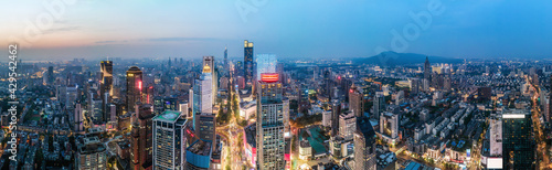 Aerial photography of the night view of modern city buildings in Nanjing - fototapety na wymiar