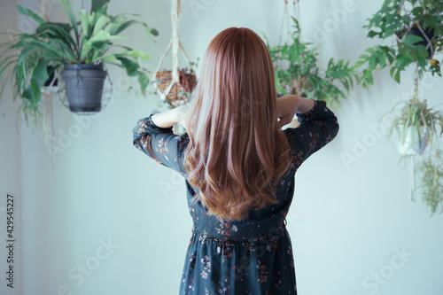 Fototapeta 観葉植物に囲まれた、綺麗な巻き髪の女性の後ろ姿 obraz