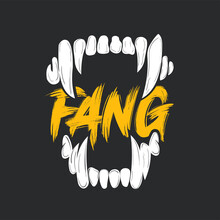 Vector Illustration Of Fangs With Inscribed In It Description