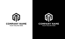 Initial Letters Logo M Black And Gold Monogram Hexagon Shape Vector