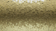 3D, Luxurious Wall Background With Tiles. Gold, Tile Wallpaper With Polished, Triangular Blocks. 3D Render