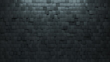 3D Tiles Arranged To Create A Concrete Wall. Square, Futuristic Background Formed From Semigloss Blocks. 3D Render