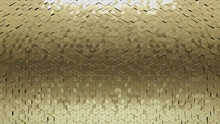 3D, Polished Wall Background With Tiles. Gold, Tile Wallpaper With Diamond Shaped, Luxurious Blocks. 3D Render