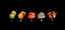 Japanese Sushi, On Smoke Background