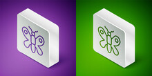 Isometric Line Butterfly Icon Isolated On Purple And Green Background. Silver Square Button. Vector