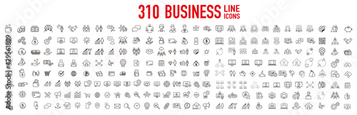 Obraz business contacts icons set vector - fototapety do salonu