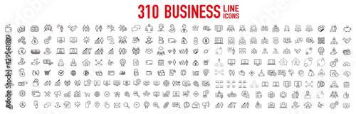 Fotografie, Tablou business contacts icons set vector