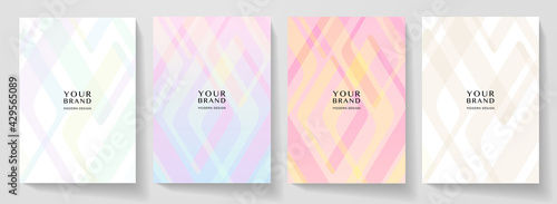 Modern cover design set. Abstract geometry line pattern (curve). Creative colorful triangle shape vector background. Collection for business, brochure template, vertical flyer