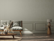 Home Interior Background, Cozy Room With Natural Wooden Furniture, Scandi-Boho Style, 3d Render