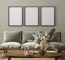 Frame Mockup In Home Interior Background, Cozy Room With Natural Wooden Furniture, Scandi-Boho Style, 3d Render