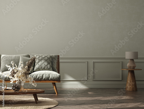 Obraz Home interior background, cozy room with natural wooden furniture, Scandi-Boho style, 3d render - fototapety do salonu