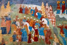 Murals (wall Painting) Of Elijah The Prophet Church. Exodus. Yaroslavl, Yaroslavl Oblast, Russia..