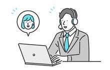 デジタルサービスを提供するビジネスパーソンのイメージイラスト素材