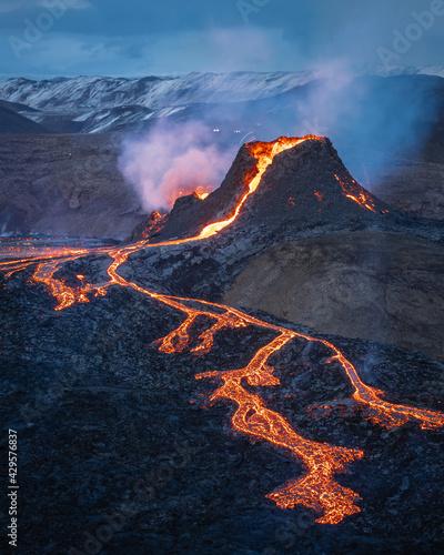 Slika na platnu fagradalsfjall volcano eruption, iceland, volcano, sunrise light, lava show