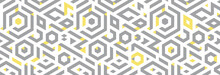 Gray, Yellow Colors. Abstract Pattern With Triangles And Hexagons On White Background. Banner.