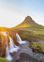 Kirkjufellsfoss Waterfall And The Kirkjufell Mountain,  Sunset At Kirkjufell, Iceland, Snaefellsnes, Iceland