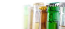 Colorful Beer Bottle Necks Close-up,