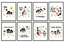 Cute Posters Set With Cows For Kids. Funny Farm Animals Prints. Great For Baby T-shirts, Wallpapers, Invitations And Card. Vector Illustration