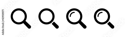 Photo Magnifying Glass Icon Set