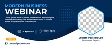 Business Webinar Horizontal Banner Design. Modern Banner Design With Dark Blue And White Background Color And Place For The Photo.