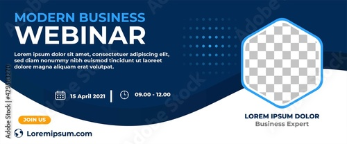 Business webinar horizontal banner design. Modern banner design with dark blue and white background color and place for the photo. - fototapety na wymiar