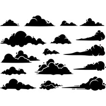 Set Of Silhouettes Of Clouds