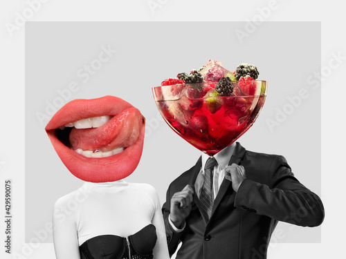 Contemporary art collage, modern design. Retro style. Couple headed with tasty cocktail with berries and big female mouth on pastel background - fototapety na wymiar