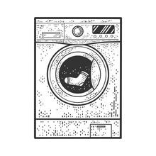 Washing Machine With Sock Sketch Raster