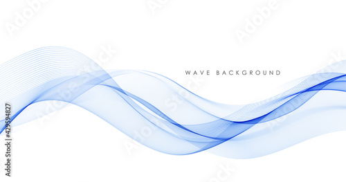 Vector abstract colorful flowing wave lines isolated on white background. Design element for technology, science, modern concept. - fototapety na wymiar