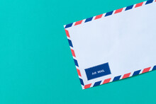 Air Mail Envelope On Green Background, Communication Concept