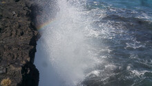 Beautiful Seascape With Waves Crashing To The Rocky Cliff