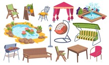 Outdoor Garden Furniture Icon Set, Water Pond Place, Bbq Stuff And Relaxing Backyard Object Cartoon Vector Illustration, Isolated On White.