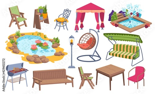 Outdoor garden furniture icon set, water pond place, bbq stuff and relaxing backyard object cartoon vector illustration, isolated on white. - fototapety na wymiar